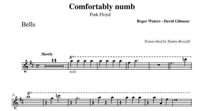 """Lo spartito di """"Comfortably numb"""" dei Pink Floyd: bells"""