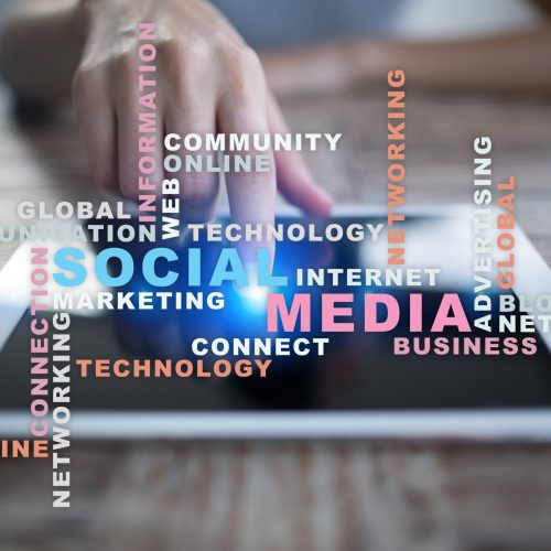 Social media network and marketing. Business, technology concept. Words cloud on virtual screen