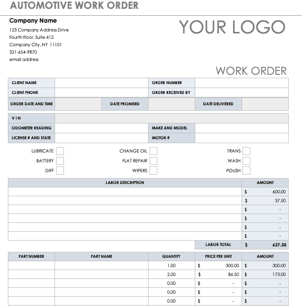 Quickly create comprehensive work orders that outline maintenance tasks & their completion. 15 Work Order Template Editable Free Doc Pdf Xls Partnership For Learning