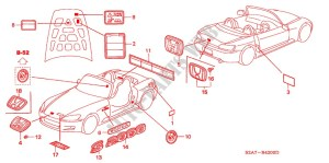 EMBLEMS CAUTION LABELS UPHOLSTERY S2000 2002 S2000 Honda cars # HONDA CARS  Genuine Spare Parts