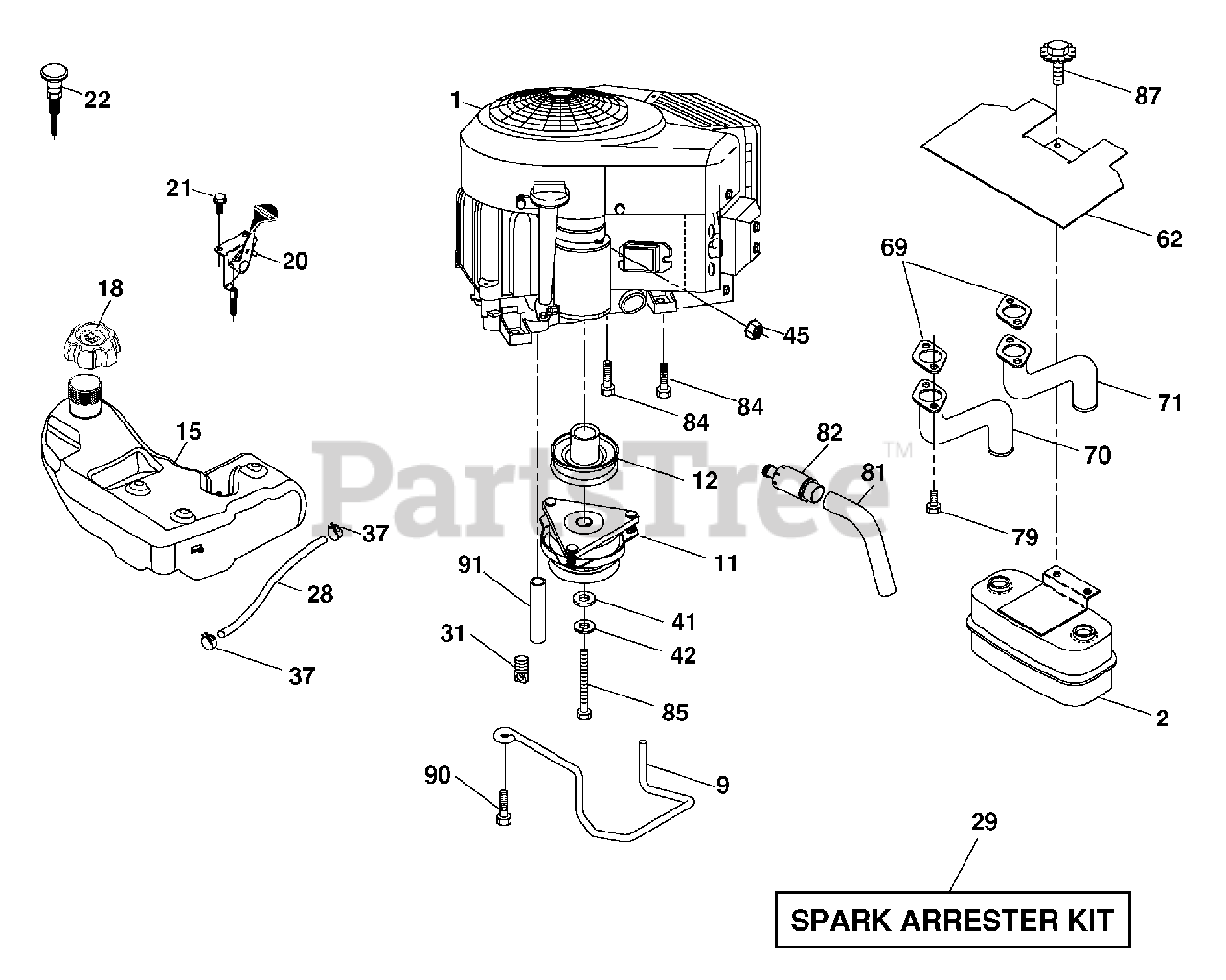 Husqvarna Parts On The Engine Diagram For Gth T