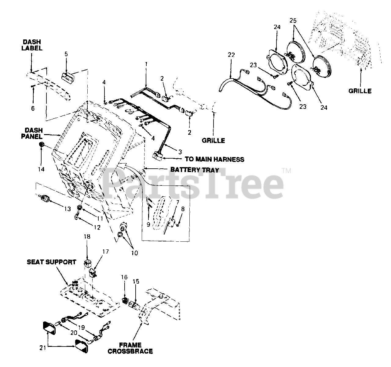 Cub Cadet Parts On The Electrical Diagram For 144