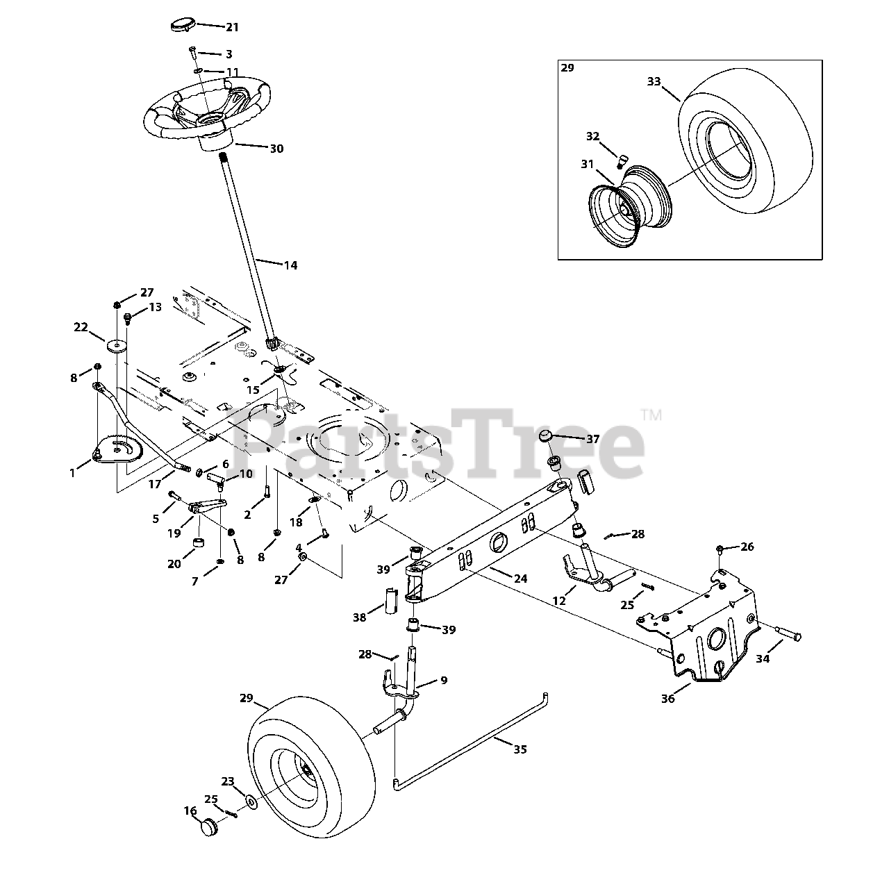 Troy Bilt Parts On The Steering Assembly Diagram For