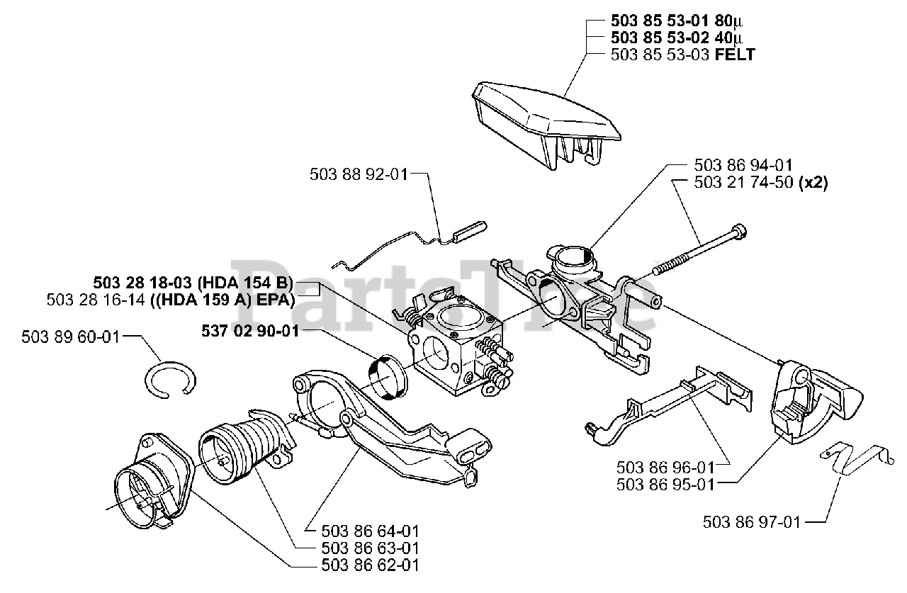 Husqvarna Parts On The Air Filter Carburetor Diagram For