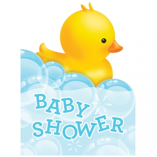 Bubble Bath Rubber Duck Baby Shower Foldover Invitations