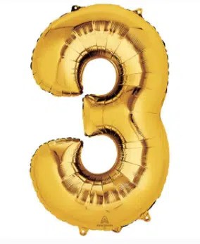 Number Balloon 3 Gold