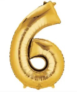 number balloon 6 gold