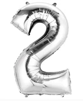 Number Balloon 2 Silver