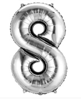 Number Balloon 8 Silver