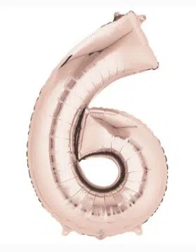 Number Balloon 6 Rose Gold