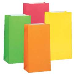 Neon Paper Party Bags 10 Pack