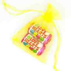 Organza Bag Yellow Love Hearts