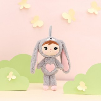 Metoo konijn grijs-roze knuffel 30cm
