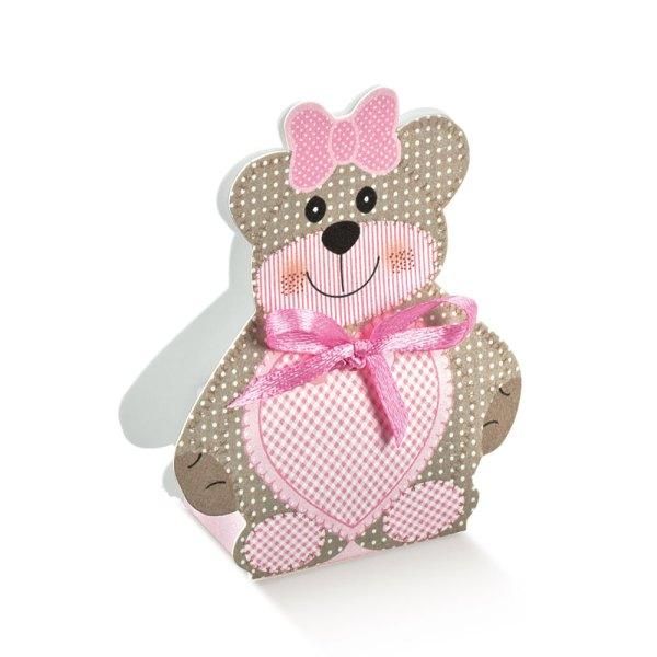 Scatola Portaconfetti Orsetto Grande Rosa| H 12 cm (10 pezzi)-0