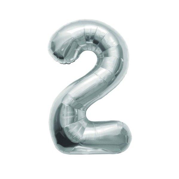 "Numero 2 Foil Gigante H 40""/100 cm. Silver (5 pz)-0"