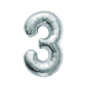 """Numero 3 Foil Medio H 14""""/36 cm. Silver (5 Pezzi)-0"""