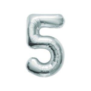 """Numero 5 Foil Medio H 14""""/36 cm. Silver (5 pezzi)-0"""