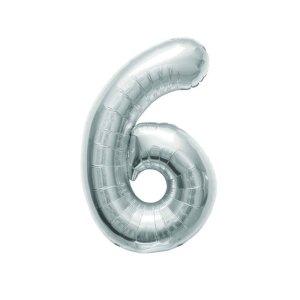 """Numero 6 Mylar Medio H 14""""/36 cm. Silver (5 Pezzi)-0"""