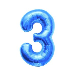 "Numero 3 Mylar Medio H 14""/36 cm. Blu (5 Pezzi)-0"