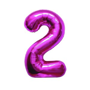 "Numero 2 Mylar Medio H 14""/36 cm Fucsia (5 Pezzi)-0"