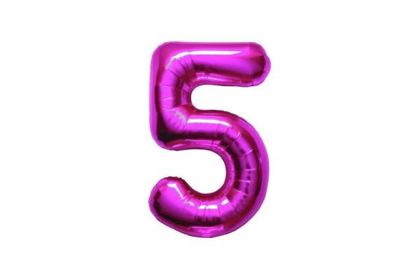 "Numero 5 Mylar Medio H 14""/36 cm Fucsia (5 Pezzi)-0"