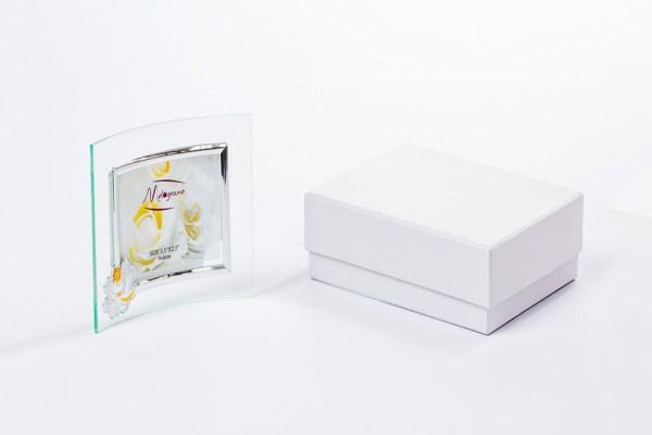 Portafoto in vetro trasparente con placca comunione con scatola-0