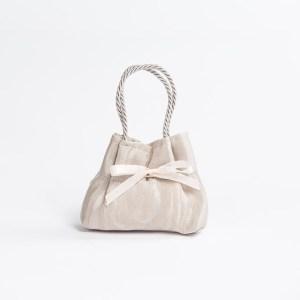 Borsetta Moire con manico in cordoncino colore perla (10 pz) STOCK-0