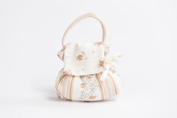 Sacchetto bomboniera borsetta colore panna con manico in cordoncino (10 pz) STOCK-0