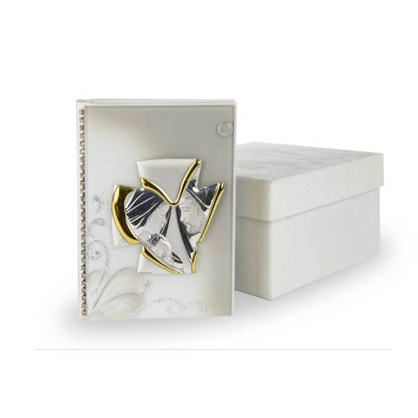 Vangelo con Sacra famiglia Argento | Grande con scatola stock-0