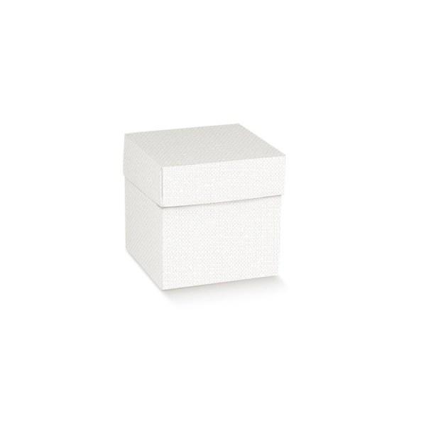 Scatola pieghevole con coperchio lino bianca 14 X 14 X 14 cm (10 pezzi)-0