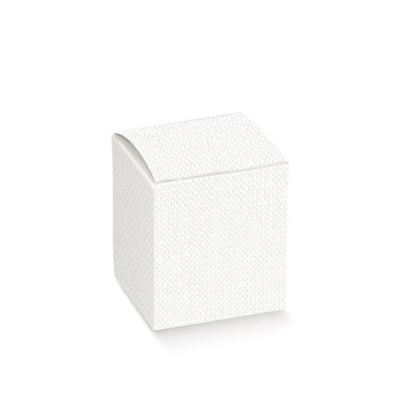 Scatola pieghevole lino bianca 8 X 8 X 13 cm (10 pezzi)-0