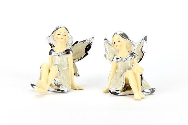 Fatina Seduta Silver Bomboniera Piccola 7 cm (2 pezzi)-0