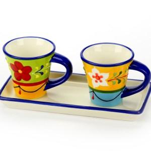 Set Vassoio+2 Tazze Colorate con scatola-0