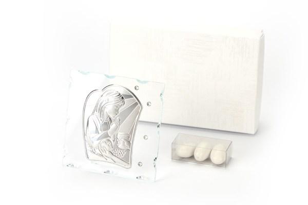 Icona Vetro e Strass con Placca Silver Prima Comunione Bambina 10,5x10,5 cm con Scatola -0
