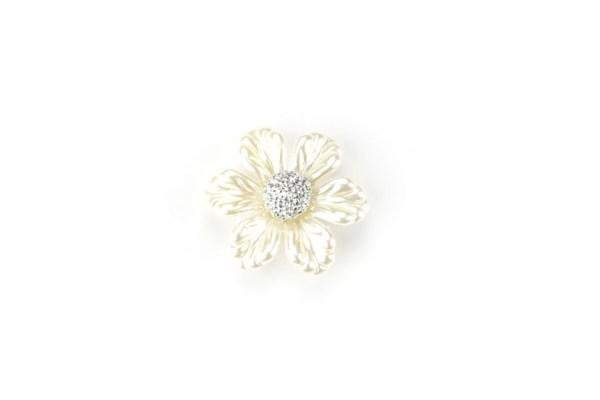Fiore Perlato con Strass Applicazione Bomboniere 3,5 cm (12 pezzi)-0