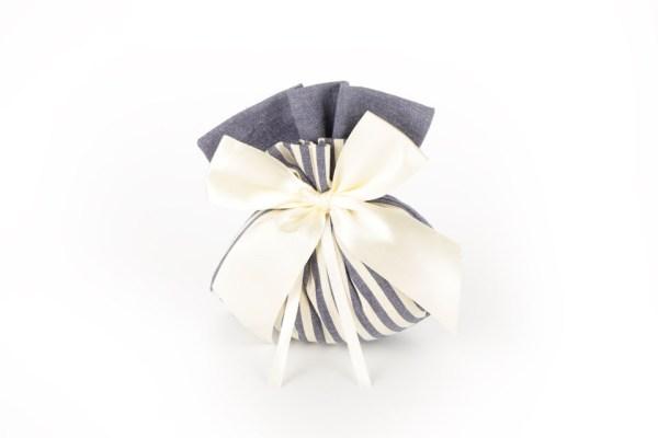 Sacchetto Portaconfetti Jeans Righe Bianche e Blu Grande (10 pezzi)-0