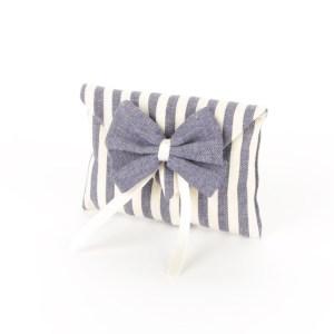 Bustina Portaconfetti Jeans Righe Bianche e Blu con Fiocco Blu Piccola (10 pezzi)-0