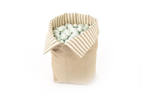 Sacco per Confettata Beige con Interno Righe bianche e Beige Grande -0