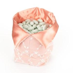 Sacco per Confettata Raso Rosa Antico con Rete Grande (10 pezzi)-0