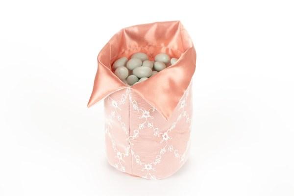 Sacco per Confettata Raso Rosa Antico con Rete Piccolo (10 pezzi)-0