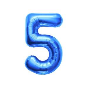 """Numero 5 Foil Piccolo H 8""""/20 cm. Blu (10 Pezzi)-0"""