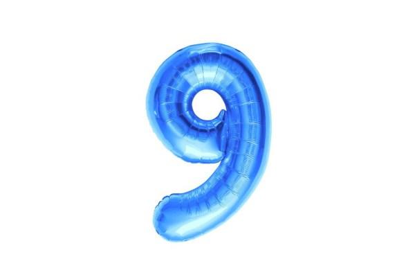 """Numero 9 Foil Piccolo H 8""""/20 cm. Blu (10 Pezzi)-0"""