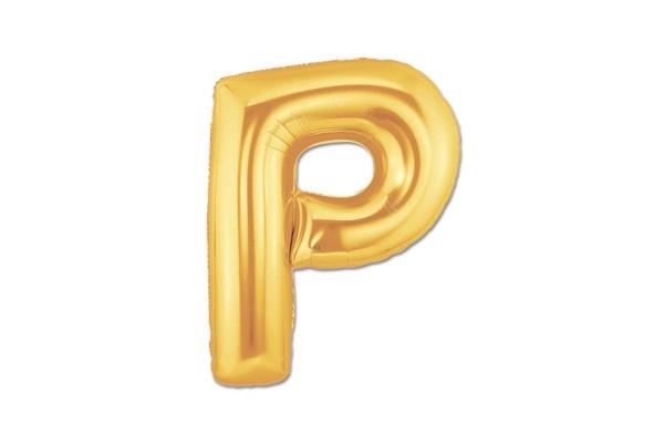 """PALLONCINO LETTERA """"P"""" MYLAR ORO H CM 20/8'' (10 PEZZI)-0"""