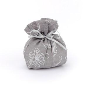 Sacchetto portaconfetti ricamato grigio (10 PZ)-0