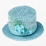 Cappello paglia con fiore Celeste (6 pz) -0