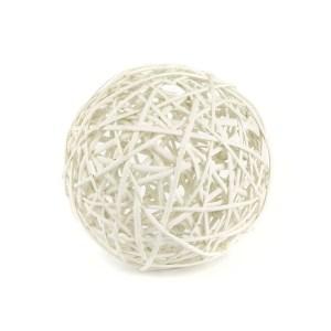 Palla in vimini intrecciato di colore bianco diam 30 cm-0