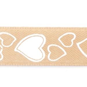 Nastri bomboniere raso cuore beige mm 38 x 25 metri-0