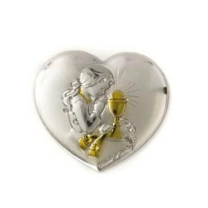 Applicazione cuore bimba comunione color sabbia oro