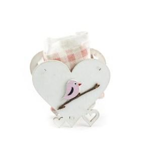 Portaconfetti cuore uccellino rosa