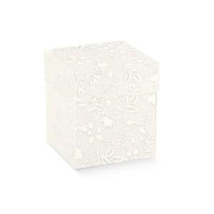 Scatola bomboniere pieghevole coperchio harmony bianco cm 10 x 10 x 6